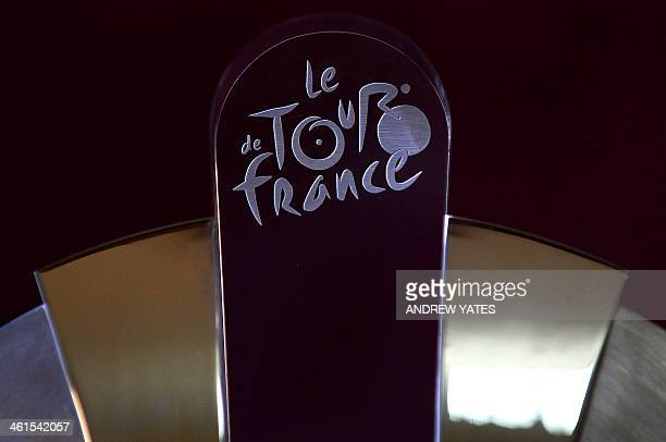 A picture shows the top of the Tour de France Grand Depart Trophy at Leeds Civic Hall in Leeds northwest England on January 9 2014 The trophy was...