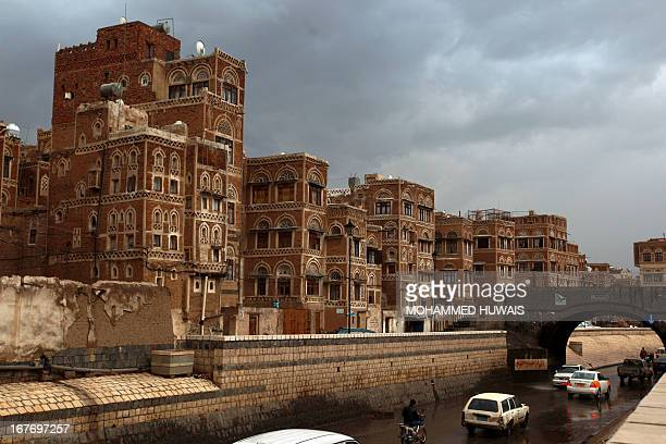 Picture shows the traditional architecture of Sanaa's old city, that is currently listed as one of the world heritage sites by UNESCO, on April 13,...