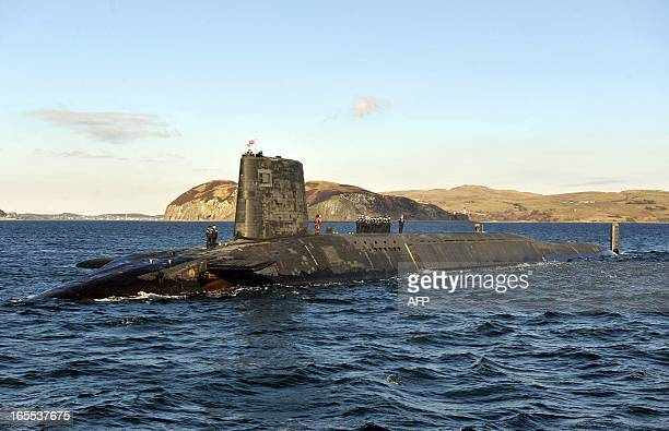 A picture shows the Trident Nuclear Submarine HMS Victorious on patrol off the west coast of Scotland on April 4 2013 before the visit of British...