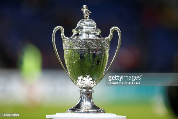 A picture shows the trophy displayed at the French Cup round of 16 football match between Paris SaintGermain and Guingamp at the Parc des Princes...