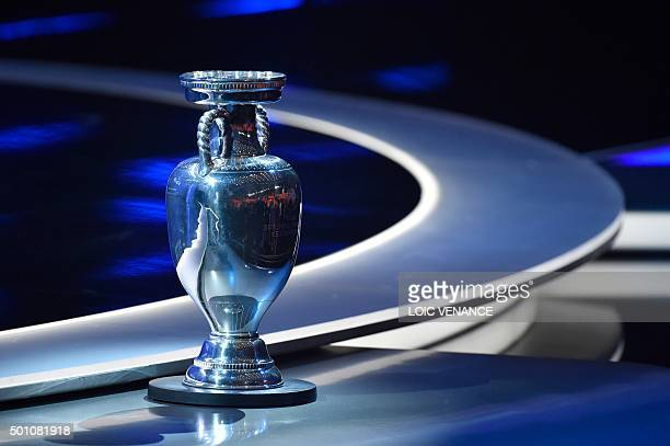 A picture shows the trophy of the UEFA Euro 2016 football tournament ahead of the final draw in Paris on December 12 2015 AFP PHOTO / LOIC VENANCE /...