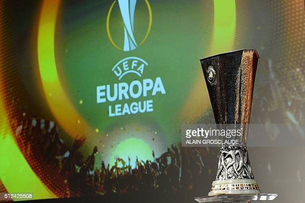 A picture shows the trophy of the UEFA Europa League football championship ahead of the round of 16 draw at the UEFA headquarters in Nyon on February...