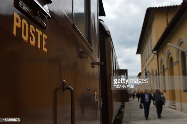 A picture shows the Tuscany's Nature Train on April 11 2015 at the Torrenieri Montalcino railway station Italian Culture Minister Dario Franceschini...