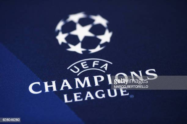 A picture shows the UEFA Champions League logo before a press conference on the eve of Champions League football match Juventus Vs GNK Dinamo Zagreb...