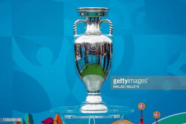 Picture shows the UEFA European Championship trophy at Kings Cross Station in London on June 4, 2021 after it arrived on the final leg of the...