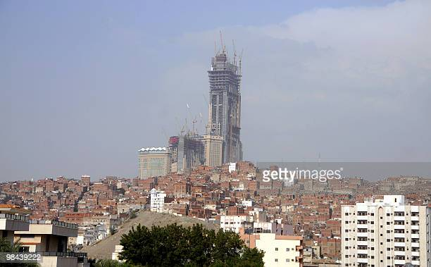 A picture shows the under construction Mecca Royal Clock Tower hotel complex in the holy Saudi city of Mecca on April 13 2010 The complex which will...
