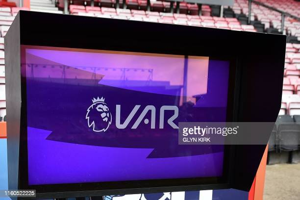Picture shows the VAR monitor beside the pitch ahead of the English Premier League football match between Bournemouth and Sheffield United at the...