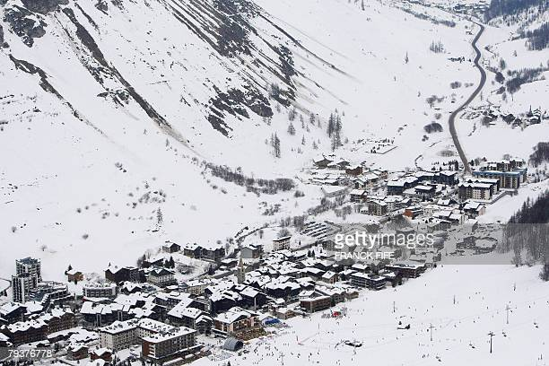 A picture shows the village of Val d'Isere in the French Alps during the men's official downhill training of FIS Ski World cup in Val D'Isere 30...