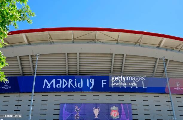 TOPSHOT A picture shows the Wanda Metropolitan Stadium in Madrid on May 29 2019 ahead of the UEFA Champions League final football match between...