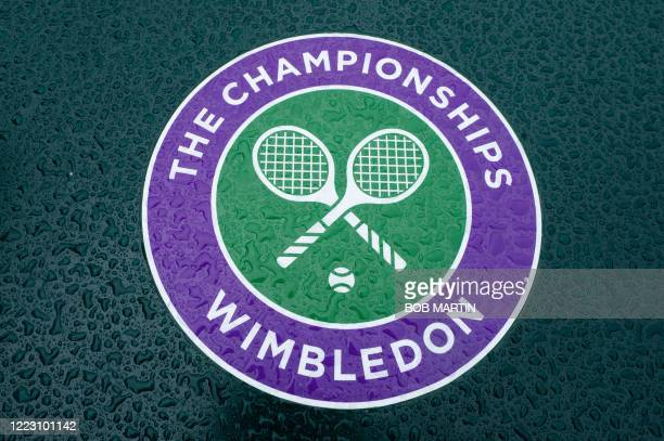 Picture shows the Wimbledon logo at the All England Lawn Tennis Club in west London on June 27, 2020 the weekend before the Wimbledon Championships...