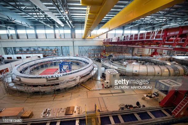 Picture shows the winding facility for the construction of poloidal field coils which will be part of the magnetic system that will contribute to...