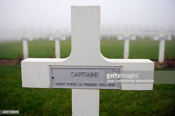 A picture shows tombstones with a plaque reading 'Captain Dead for France 19141918' in the Douaumont ossuary 'national necropolis' in Douaumont on...