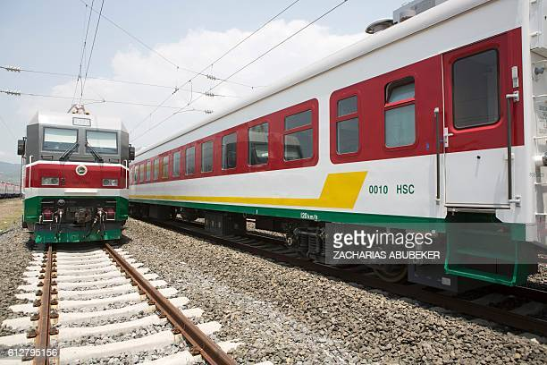 A picture shows trains of the Addis Ababa / Djibouti train line in Addis Ababa on September 24 2016 With Chinese conductors at the helm a fleet of...