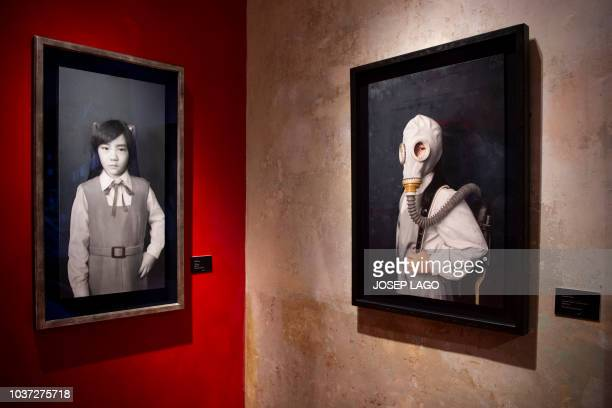 Picture shows two paintings by Japanese artist Kenichiro Ishiguro in the temporary art exhibition Contemporary Japanese Realism at the European...