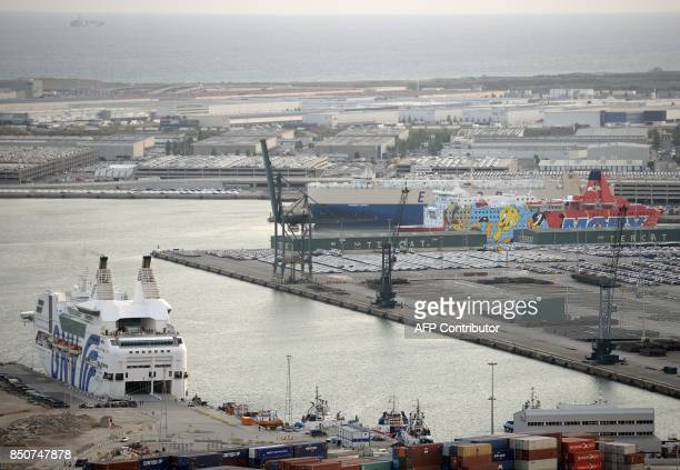 Picture shows two ships moored to the dock of Barcelona's port to house police reinforcements on September 21 2017 The Spanish Interior Ministry has...
