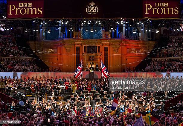 A picture shows US conductor Marin Alsop leading the performance on stage during the last night of the Proms at The Royal Albert Hall in west London...