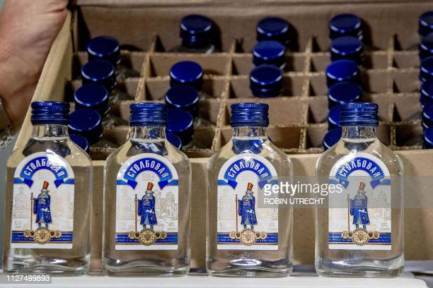 Picture shows vodka bottles that were seized by the customs authorities in the port of Rotterdam on February 26 2019 Customs authorities in the port...