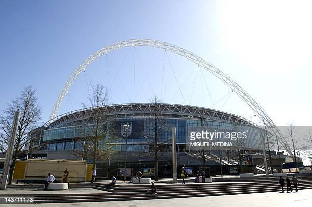 A picture shows Wembley Stadium one of the venues of the football competition at the London 2012 Olympic Games in London on March 26 2012 AFP PHOTO /...