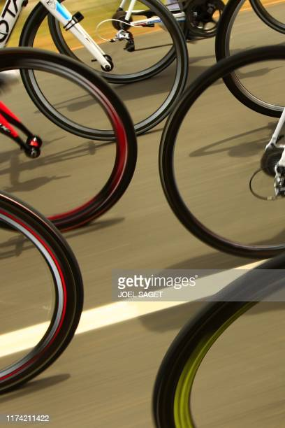 Picture shows wheels during the 196 km and 13th stage of the 2010 Tour de France cycling race run between Rodez and Revel southern France on July 17...