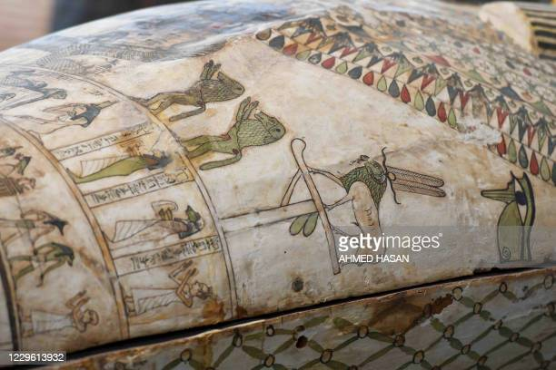 A picture shows wooden sarcophagi during the unveiling of an ancient treasure trove of more than a 100 intact sarcophagi at the Saqqara necropolis 30...