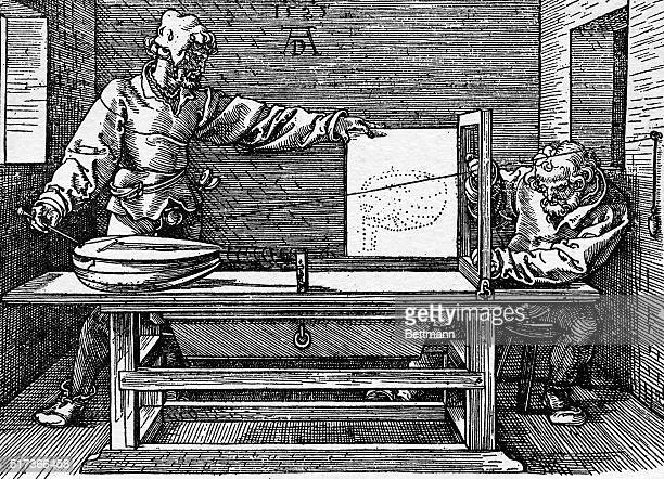 Picture shows 'Working on Perspective' 1525 engraving by Albrect Durer Printed in Nuremberg by Hieronimus Formschneider