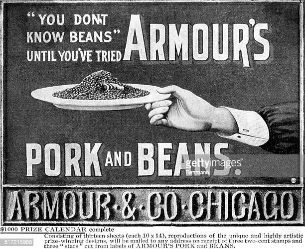 Picture shows You don't know beans until you've tried Armour's Pork and Beans Advertisement showing a hand holding a plate of Pork and Beans Armour...