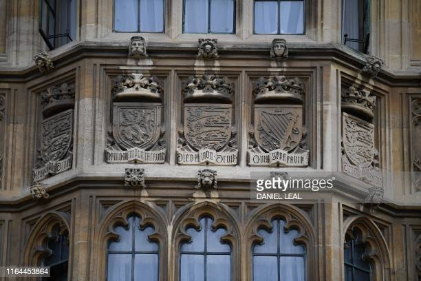 A picture showsthe royal arms of Scotland England and Ireland on the facade of the Palace of Westminster that houses the Houses of Parliament in...