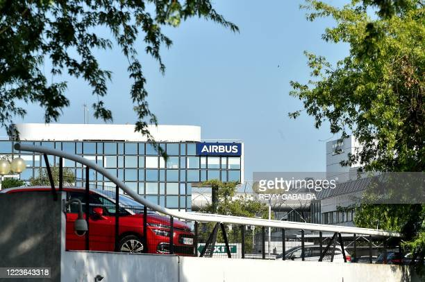 Picture shwos the Airbus logo on a building at the company headquarters in Blagnac, southern France, on June 30, 2020. - European aircraft maker...