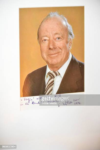 A picture signed by German actor heinz Ruehmann as a detail during the Aline Reimer Foundation Gala on July 7 2018 in Berlin Germany