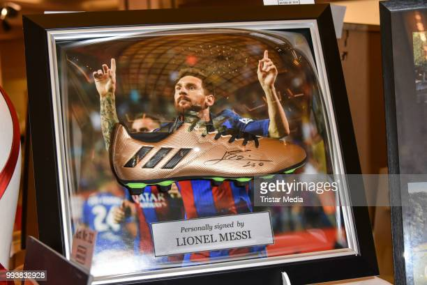 A picture signed by Lionel Messi as a detail during the Aline Reimer Foundation Gala on July 7 2018 in Berlin Germany
