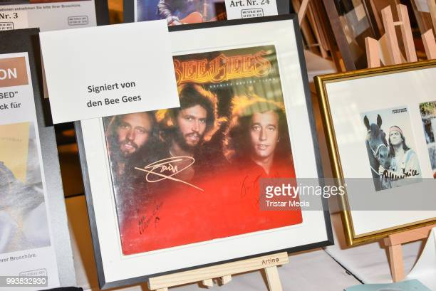 A picture signed by the Bee Gees as a detail during the Aline Reimer Foundation Gala on July 7 2018 in Berlin Germany