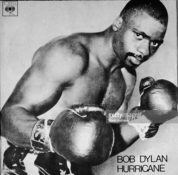 Picture sleeve portrait of American boxer Rubin 'Hurricane' Carter from Bob Dylan's single release 'Hurricane' 1975 Carter was wrongly convicted and...