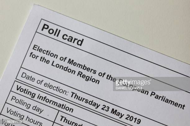 A picture take as an illustration in London on April 25 2019 shows a poll card for the European Parliament elections Britain is preparing for a...
