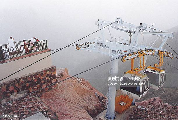 Picture taken 01 May 2000 shows cable cars in the mountains of Abha in the southwestern province of Assir in Saudi Arabia Four centuries the...