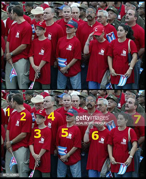 Picture taken 01 May 2006 during a political rally in Havana of several members of Cuban President Fidel Castro's family Identified by their...