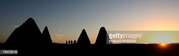 Picture taken 02 March 2007 shows the Royal pyramids north of Khartoum Sudan built in Nubia about 800 years after the last Egyptian pyramid was built...