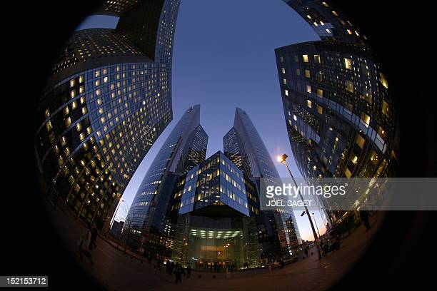 A picture taken 07 February 2008 at La Défense district in Puteaux outside Paris shows French bank Societe Generale's central headquarters French...