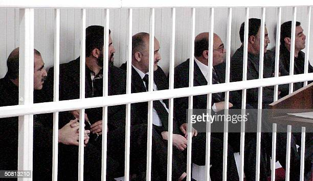 Picture taken 07 May 2004 shows six of seven opposition leaders of Azerbaijan during their trial in Baku International human rights groups have said...