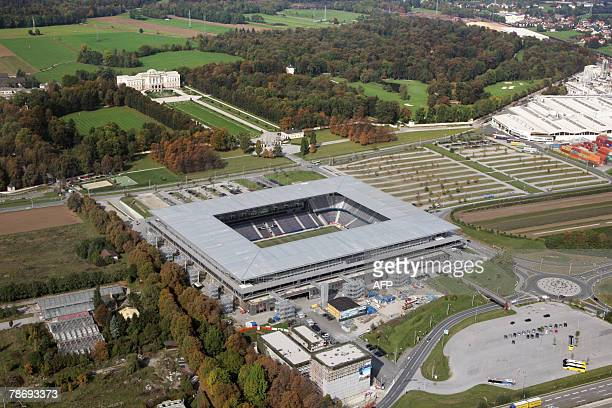 Picture taken 08 October 2007 shows an aerial view of the WalsSiezenheim stadium in Salzburg one of the four stadiums in Austria to host the 2008...