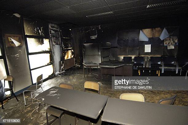 Picture taken 09 November 2005 of a classroom of the Arthur Rimbaud high school in La Courneuve northern Parisian suburb damaged by a fire France's...
