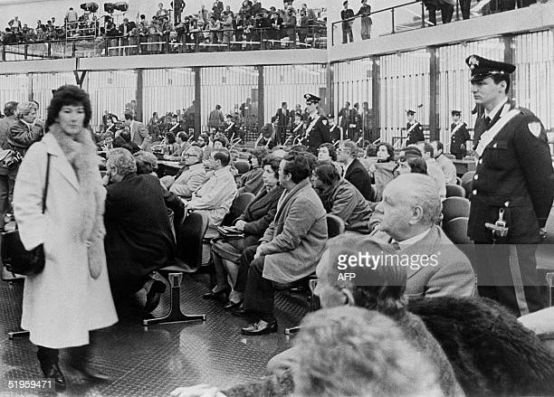 A picture taken 10 February 1986 shows the crowd in the courtroom inside the bunker built into the Ucciardone prison in Palermo as the big trial...
