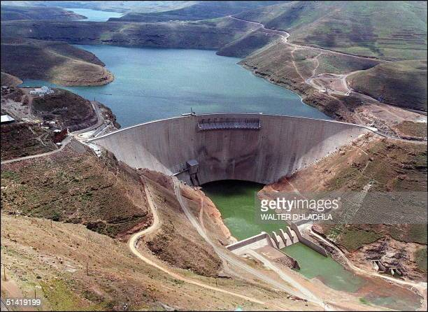 Picture taken 10 November shows the Lesotho's Katse Dam which forms part of the Lesotho Highlands Water Project with underground tunnels designed to...
