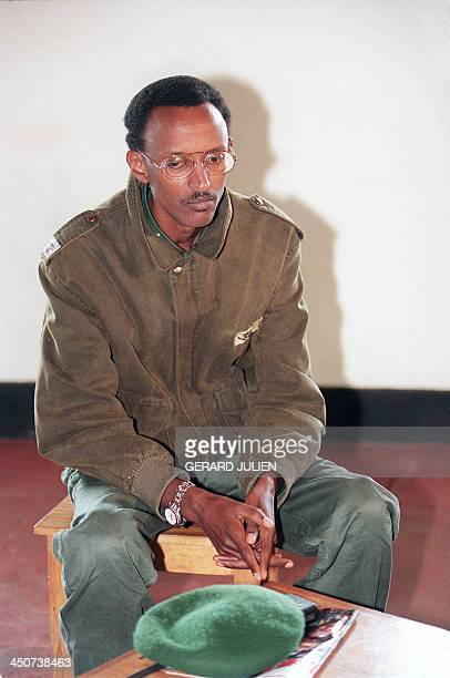 A picture taken 11 May 1994 in Buymba of Paul Kagame leader of the Tutsiled RPF during a meeting with UN High Commissioner for Human Rights Jose...