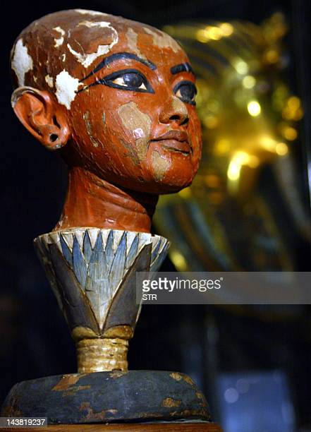 A picture taken 11 May 2005 shows what is believed to be the face of Egypt's most famous king Tutankhamun Zahi Hawass the secretary general of...
