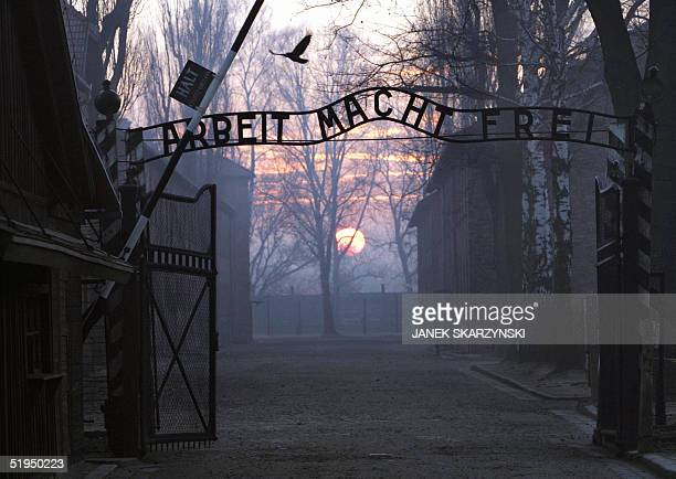 Picture taken 13 January 2005 shows the main gate entering the Nazi Auschwitz death camp at sunrise Between 1940 and 1945 more than one million men...