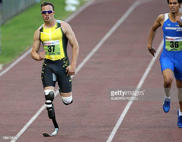 A picture taken 13 July 2007 shows South African Oscar Pistorius competing in the men's 400m race B during the Athletics IAAF Golden Gala at Rome's...