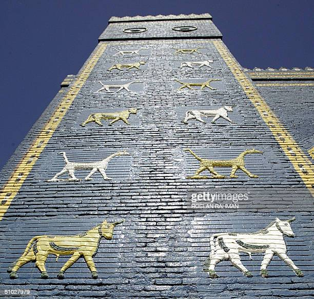 A picture taken 13 June 2004 shows the Ishtar gate in the ancient city of Babylon 100 kms south of Baghdad This gate is a reprodution as the original...