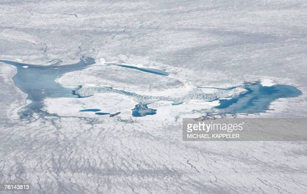 Picture taken 16 August 2007 shows an aerial view of the inland ice near Kangerlussaq Greenland German Chancellor Angela Merkel and German...