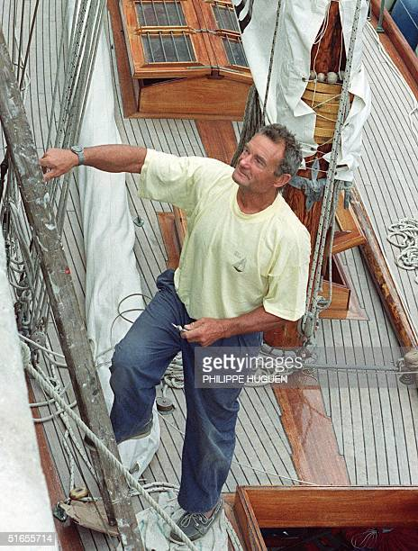 Picture taken 16 July 1992 in Douarnenez showing French yachtsman Eric Tabarly on the deck of his boat Pen Duick. Tabarly was reported missing at sea...