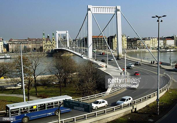 """Picture taken 17 February 2004 of Hungarian capital Budapest with Elisabeth Bridge, a chain suspension bridge, crossing Danube River and """"Downtown..."""